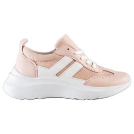 SHELOVET Buty Sportowe Na Platformie różowe