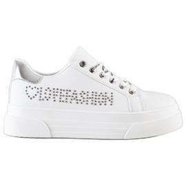 SHELOVET Białe Trampki Na Platformie Fashion