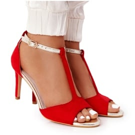Sandały Na Szpilce S.Barski 280-58 Czerwono-Złote czerwone złoty
