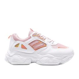 Biało różowe sneakersy na grubej podeszwie Annette białe wielokolorowe
