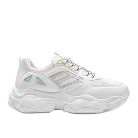 Biało srebrne sneakersy na grubej podeszwie Annette białe