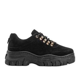 Czarne sneakersy na grubej podeszwie Cecilia