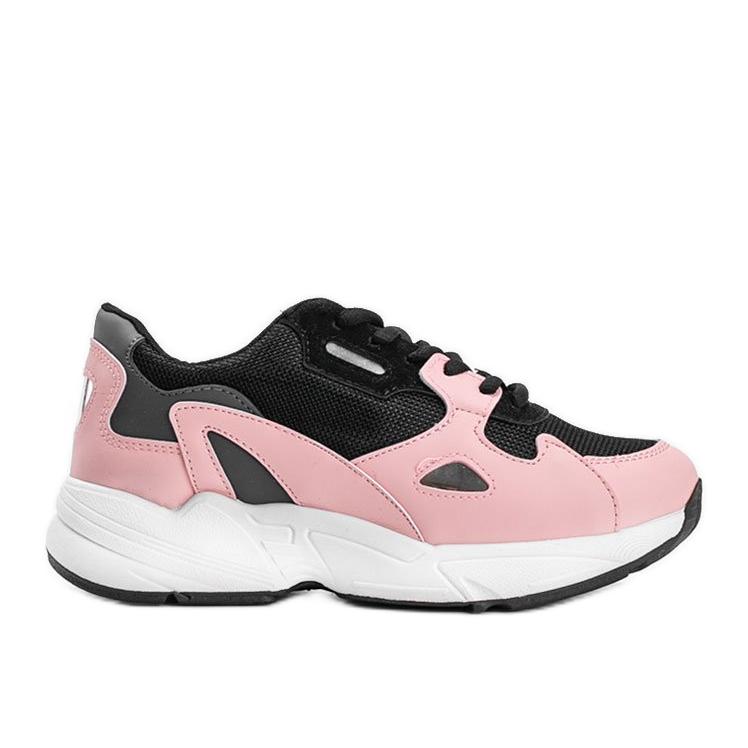 Czarno różowe sneakersy damskie Kendall czarne