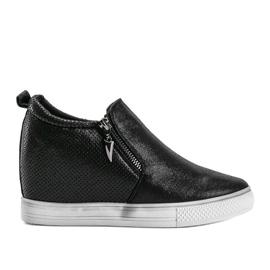 Czarne błyszczące sneakersy damskie Avery