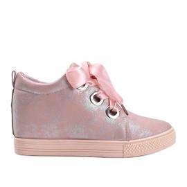 Różowe połyskujące sneakersy damskie Elle