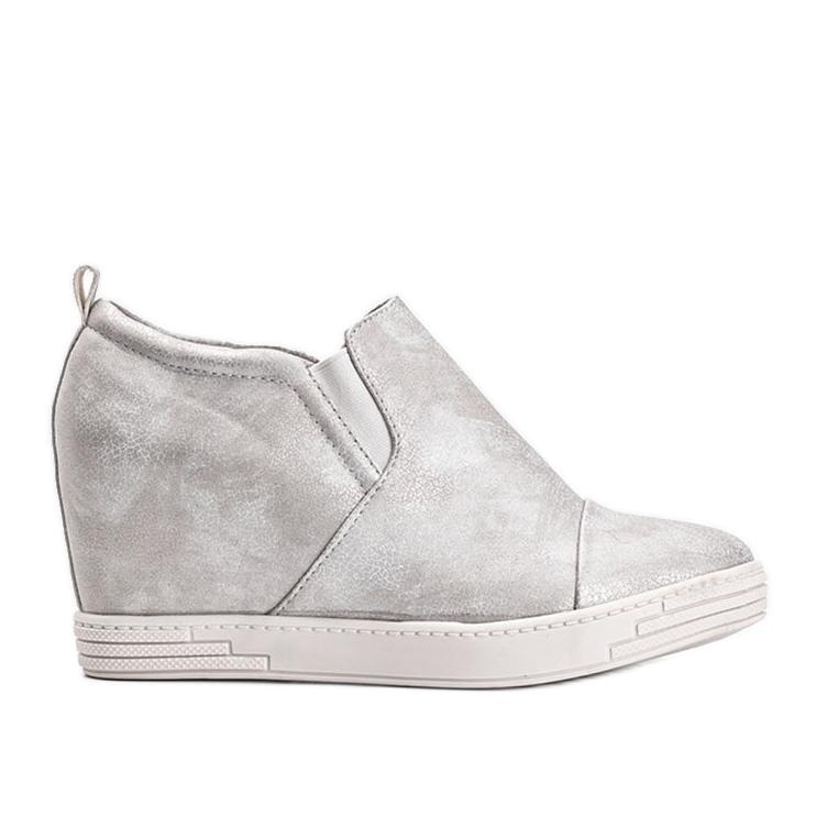 Białe połyskujące sneakersy damskie Jayla srebrny