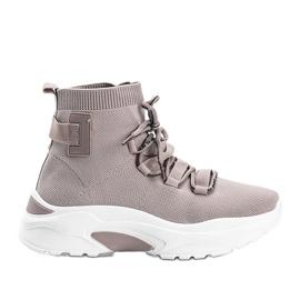 Sneakersy skarpetkowe beżowe Elisa beżowy