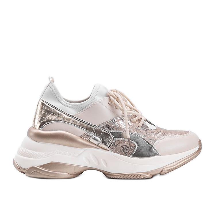 Beżowo złote sneakersy na grubej podeszwie Lea beżowy