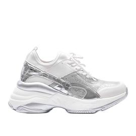 Biało srebrne sneakersy na grubej podeszwie Lea białe