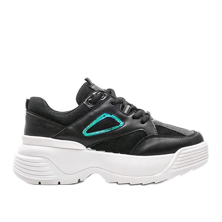 Czarne sneakersy na grubej podeszwie Jaida