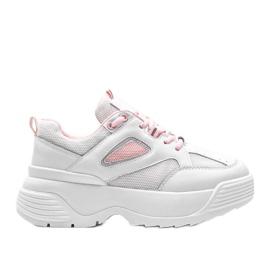 Białe sneakersy na grubej podeszwie Jaida
