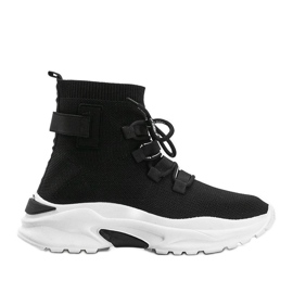Sneakersy skarpetkowe za kostke czarne Ella