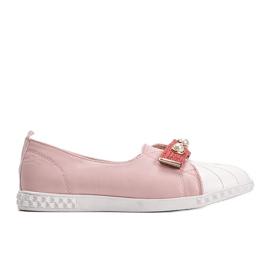 Różowe mokasyny z perełkami Deanna