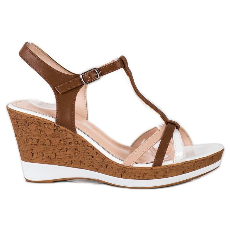 Sandały Na Koturnie Sergio Leone brązowe