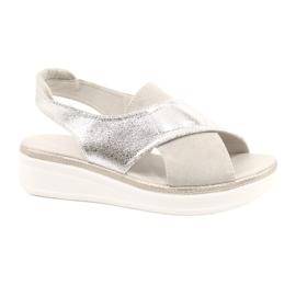 Komfortowe sandały na platformie Sergio Leone SK029 srebrny szare