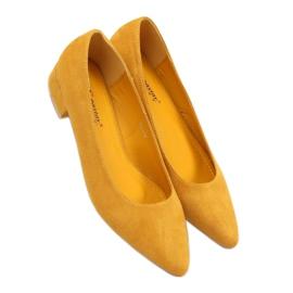 Czółenka na niskim obcasie miodowe CL70P Yellow żółte