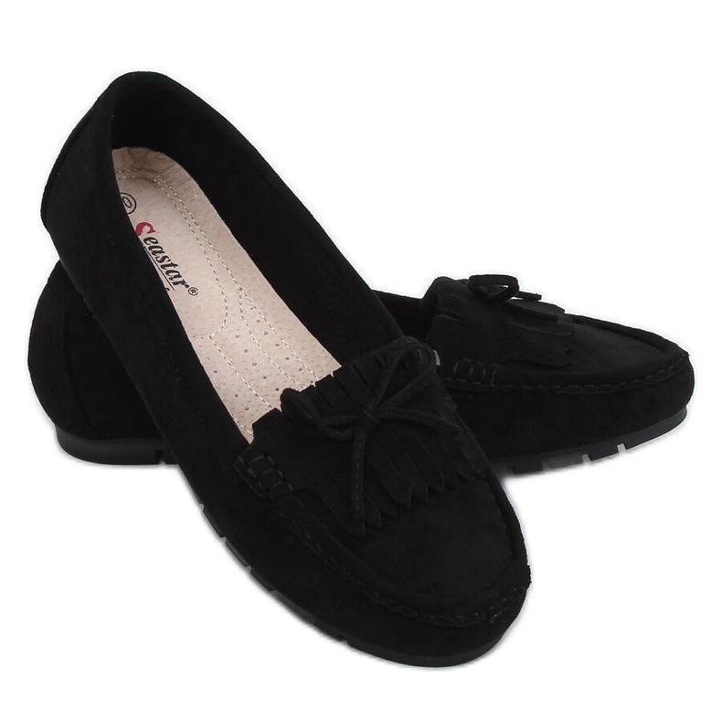 Mokasyny damskie czarne GS11P Black