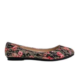 Błyszczące czarne balerinki w kwiaty Luz