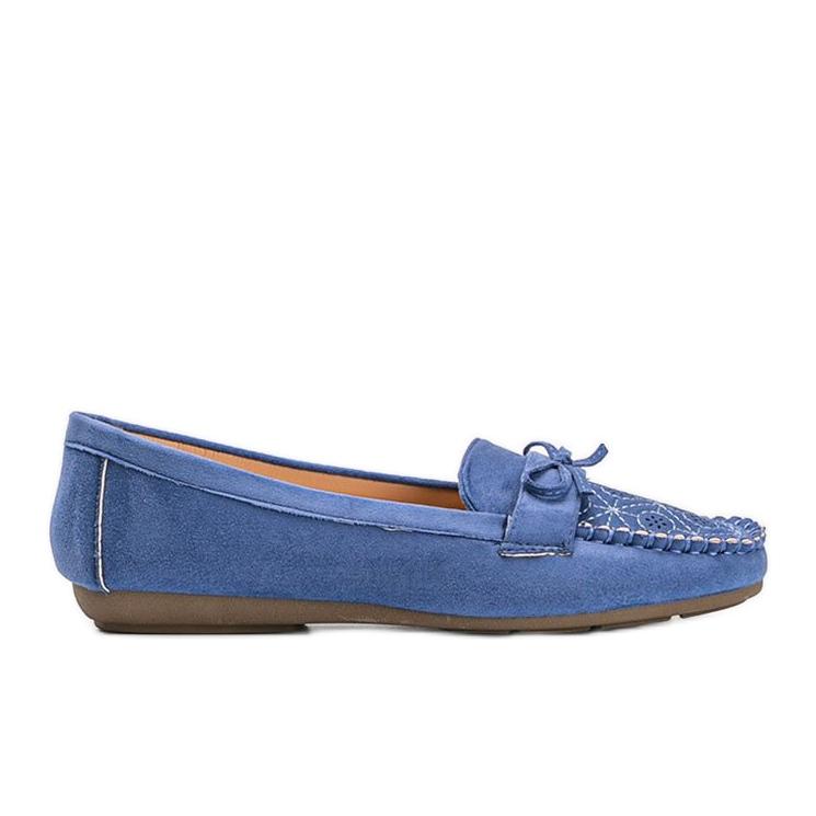 Niebieskie mokasyny z ażurowym wzorkiem Maura