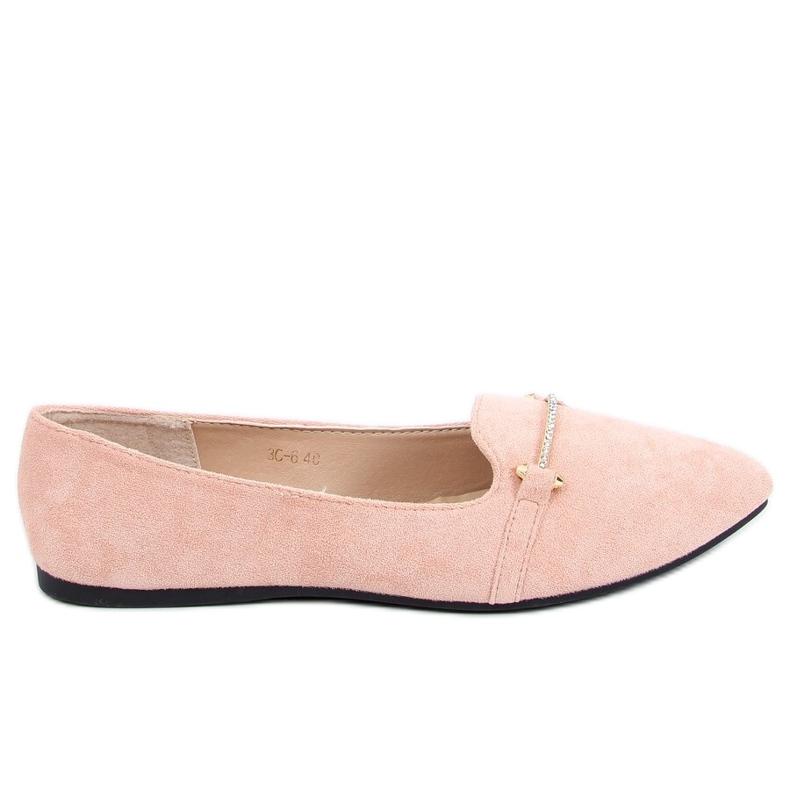 Mokasyny migdałowe noski różowe 3C-6 Pink
