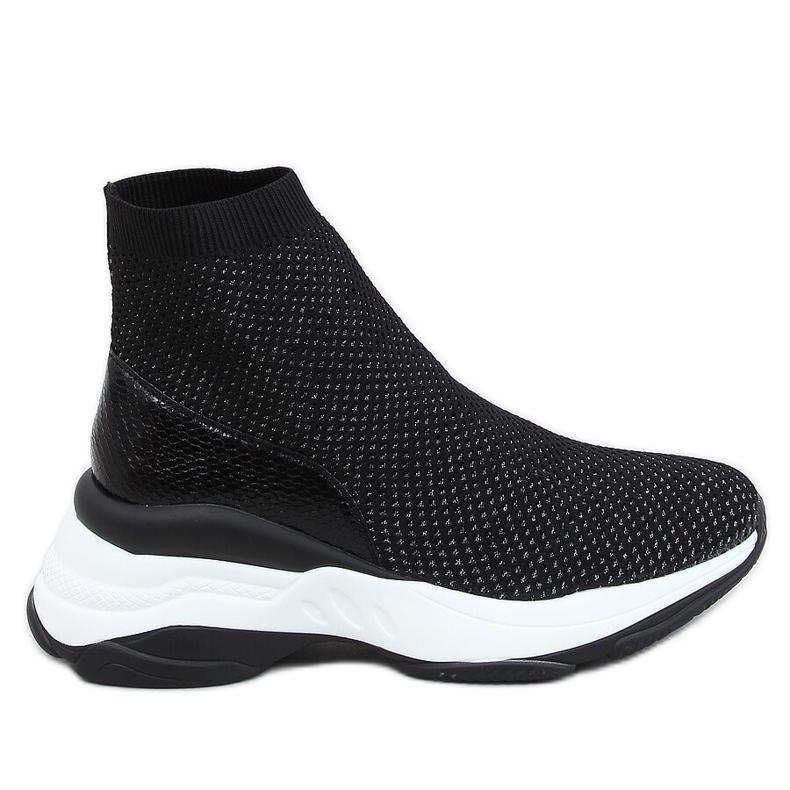 Buty sportowe na ukrytym koturnie czarne RQ286 Black