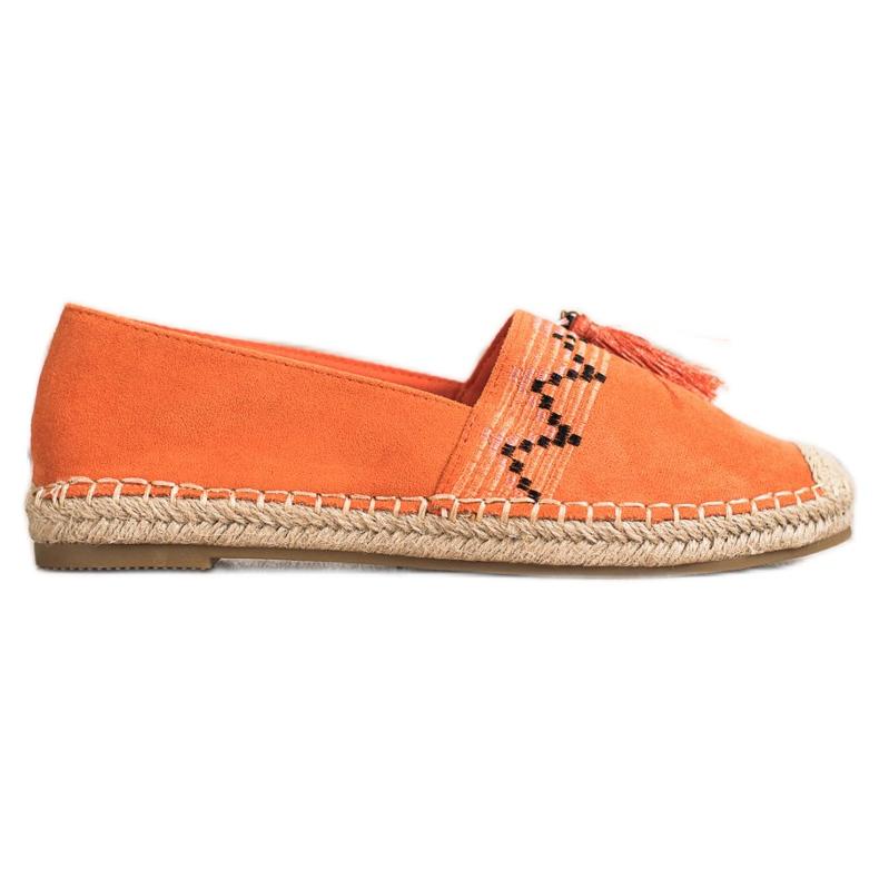 Best Shoes Modne Espadryle Z Ozdobami pomarańczowe
