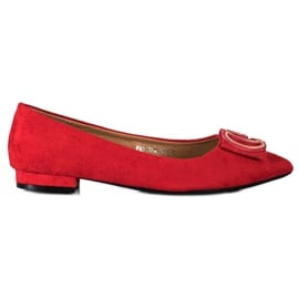 Fama Eleganckie Baleriny Z Ozdobą czerwone