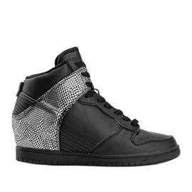 Czarne sneakersy za kostkę z motywem zwierzęcym Macy