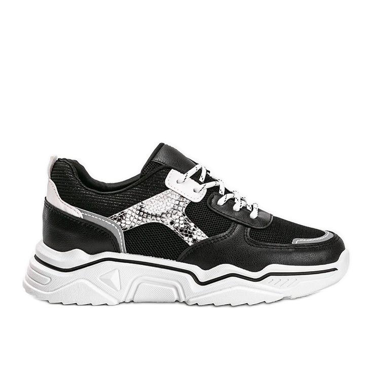 Czarne sneakersy na grubej podeszwie z motywem skóry węża Anika