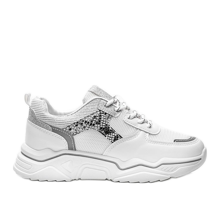 Białe sneakersy na grubej podeszwie z motywem skóry węża Anika