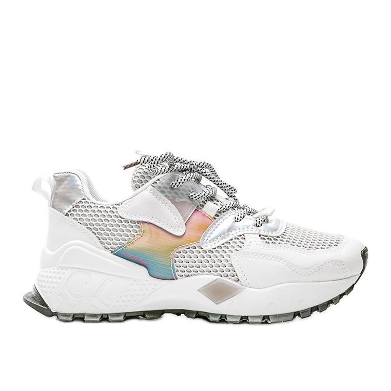 Białe sneakersy na grubej podeszwie z siateczką Elaina wielokolorowe