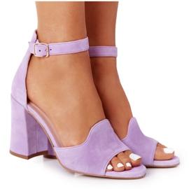 PV3 Welurowe Sandały Na Słupku Fioletowe Visconi 4361537