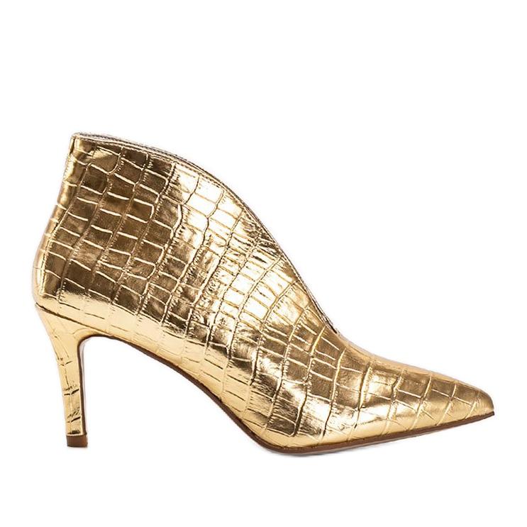 Złote wsuwane botki wzorowane na skórę węża Isabel złoty