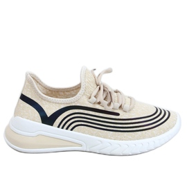 Buty sportowe skarpetkowe beżowe 3436 Beige beżowy