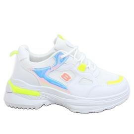Buty sportowe damskie biało-żółte HX-68 Yellow białe wielokolorowe