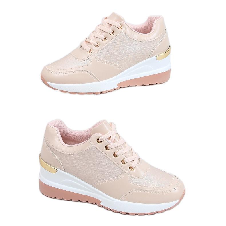 Buty sportowe na ukrytym koturnie różowe MY-2717 Pink