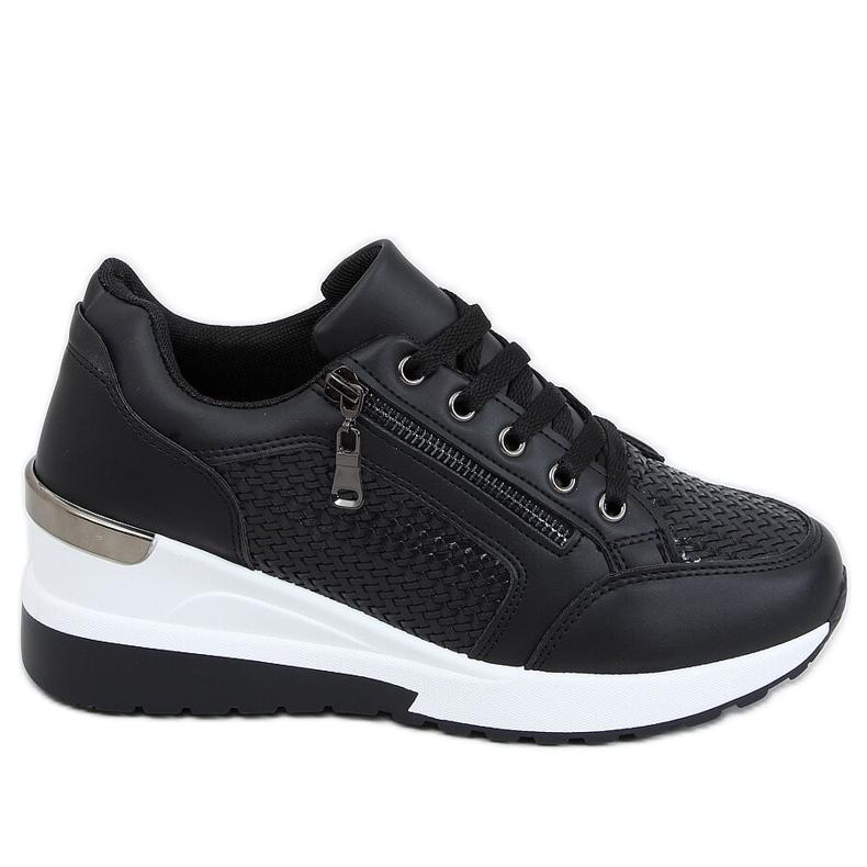 Buty sportowe na ukrytym koturnie czarne MY-2716 Black