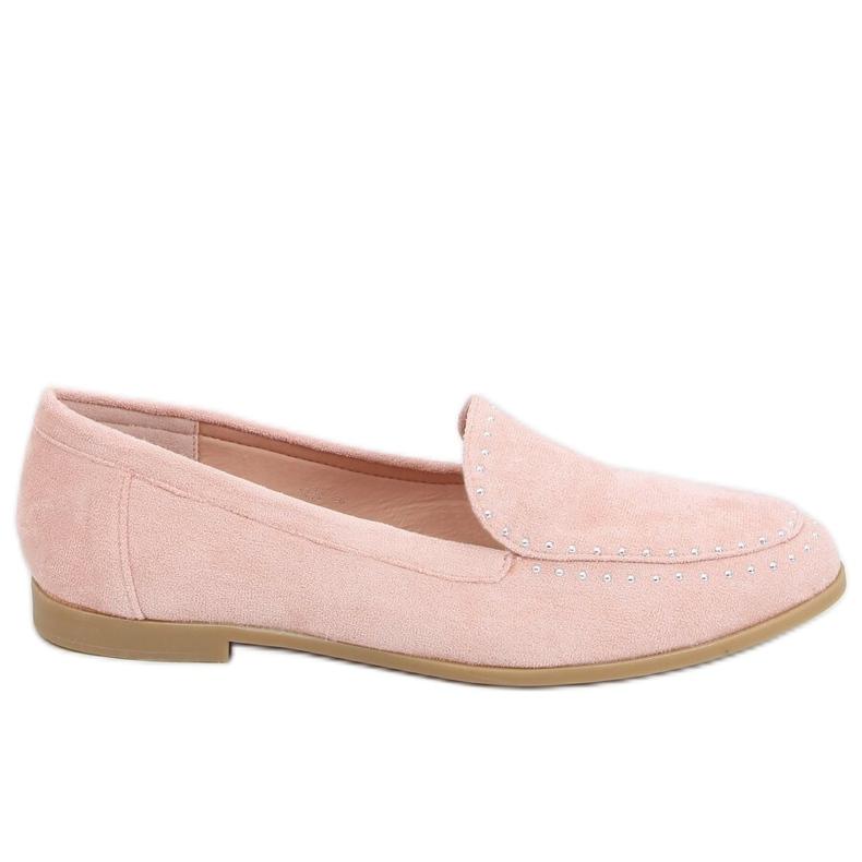 Mokasyny z ćwiekami różowe 4322 Pink