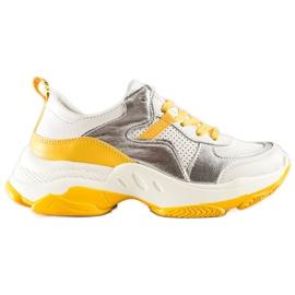Goodin Skórzane Sneakersy Ze Srebrnymi Wstawkami białe wielokolorowe