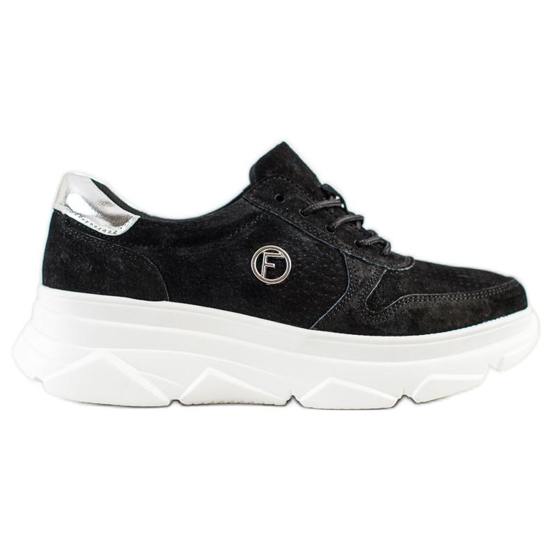 Filippo Skórzane Sneakersy Na Platformie czarne