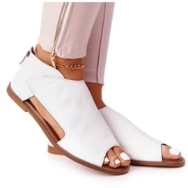 Damskie Skórzane Sandały Nicole 2622 Białe