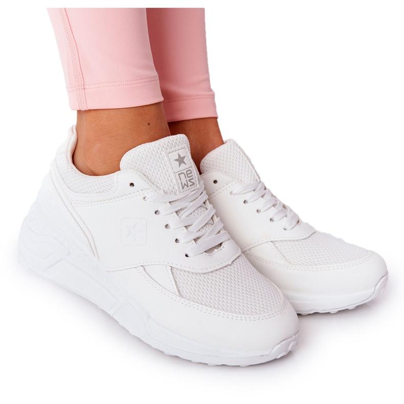NEWS Damskie Sneakersy Na Koturnie Białe Avery
