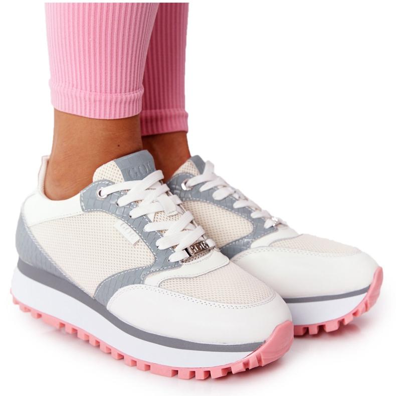 Skórzane Sportowe Buty Na Platformie GOE HH2N4008 Białe wielokolorowe