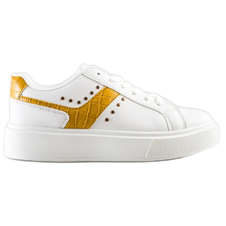 SHELOVET Casualowe Sneakersy Z Eko Skóry białe żółte