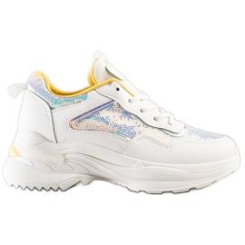 SHELOVET Sneakersy Z Cekinami białe