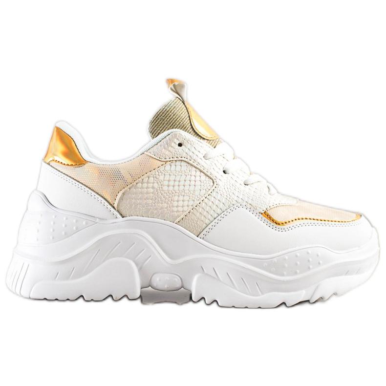 Weide Sneakersy Z Eko Skóry Snake Print białe złoty