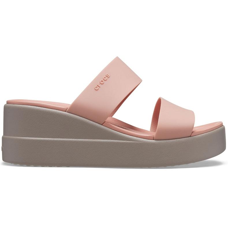 Crocs klapki damskie Brooklyn Mid Wedge różowo-beżowe 206219 6RL różowe