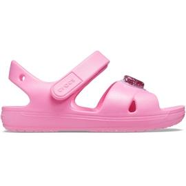 Crocs sandały dla dzieci Classic Cross Strap Charm różowe 206947 669