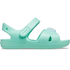Crocs sandały dla dzieci Classic Cross Strap Charm miętowe 206947 3U3 zielone