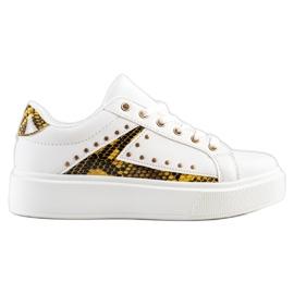 SHELOVET Białe Sneakersy Na Platformie czarne żółte